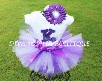 Personalized Purple Tutu Set - Baby Infant Toddler Girls
