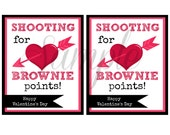 INSTANT Download Shooting for Brownie Points VALENTINES Day Cards School Lunch Box Jokes - (8) Printable lunchbox Notes kids cards