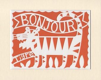 Folk Art Primitive Papercut Art Bonjour Tiger
