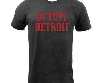 UGP Campus Apparel Octopi Detroit 003 American Apparel Mens T Shirt - Tri-Black