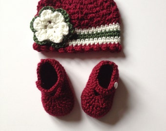 Crochet Baby Hat and Bootie Set, 0-3 Months