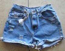 ALL SIZES: Plain High Waisted Denim Shorts
