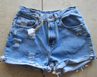ALL SIZES: Plain High Waisted Denim Shorts