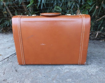 Vintage Suit Case, Tommy Traveler, Gentlemen's Luggage, Leather Suitcase, Suitcase with Key, 20.5 x 6.5 x 14.5