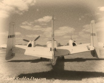 Vintage Airplane...Back View - United States - Black & White -  War Photography - Vintage Military Images - 8x10 - Military - Grain
