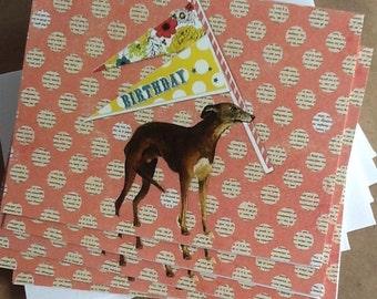 Happy Birthday Greyhound With Pennant Notecard Set