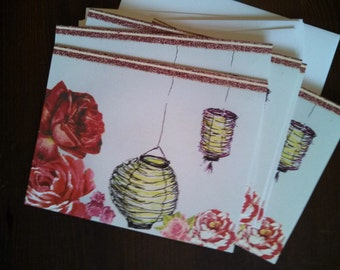 Roses With Japanese Lanterns Notecard Set