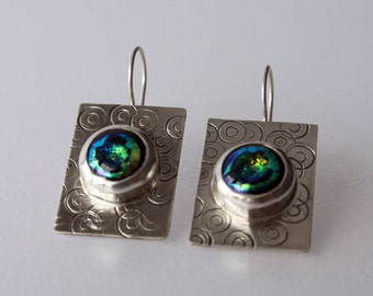 Blue Dichroic Glass Bubbles on Sterling Silver Wire Earrings