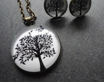 Set jewelry Tree black white