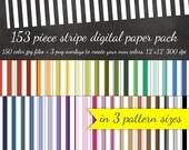 80% OFF SALE Cabana Stripe Digital Scrapbook Paper Pack - 3 Stripe Pattern Sizes 50 Colors Each & 3 Overlays - Digital Scrapbooking Paper