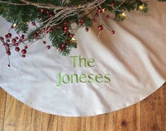 Personalized Christmas Tree Skirt - Natural Colored Linen Tree Skirt - Monogrammed Natural Christmas Tree Skirt