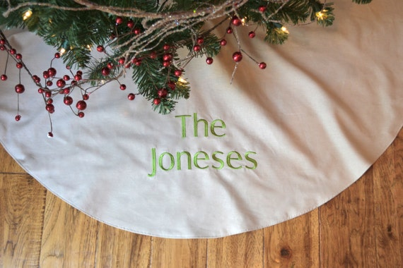 Personalized Christmas Tree Skirt Natural Colored Linen Tree