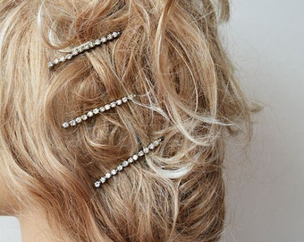 Wedding Hair Bobby Pins, Bridal Rhinestone Hair Pins, Hair Pins, Bridesmaids Hair Pins, Set of 3 Rhinestones Hair Bobby