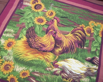 Hen & Rooster Placemats, Chicken Decor, Kitchen Placemats