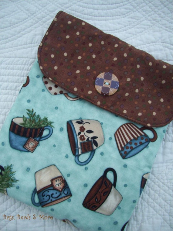 Turquoise & Brown iPad Sleeve with Back Pocket