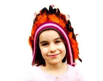 Indian headdress for girls, feather headdress for girls.
