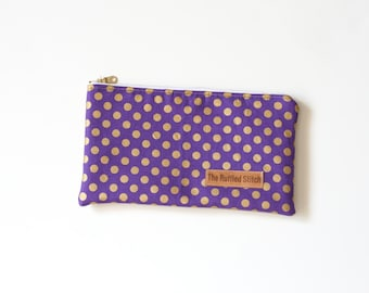 Purple and Gold Large Zipper Pouch