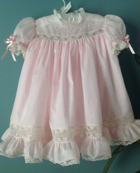 Pink Baby Dress With Pastel Embroidery