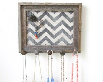Chevron Jewelry Organizer  Barnwood Frame 5 Vintage knobs