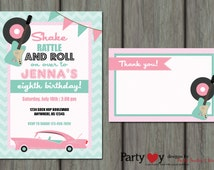50's Birthday Invitation, Sock Hop Birthday Invitation, 50's Invitation, Fifties Invitation, Sock Hop Invitation, Free Thank You Card