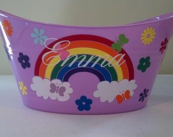 Personalized Basket, Sand Bucket, with Rainbows