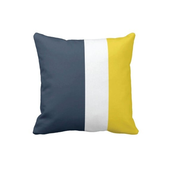 Custom Color Block Throw Pillow & Cover-Navy-White-Yellow OR