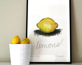 ART PRINT of Yellow Lemon on White Background