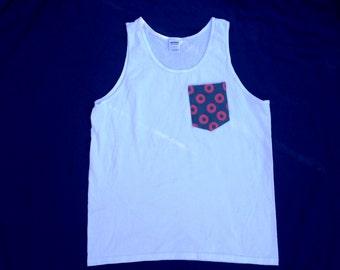 Men's Fishman Pocket Tank Top in White Phish Shirt / You Enjoy My Shirt