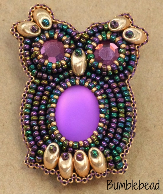 Bead embroidered owl kit and tutorial a seed pattern