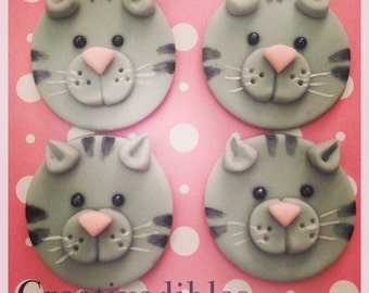 Kitten, Cat Fondant cupcake Cookie toppers
