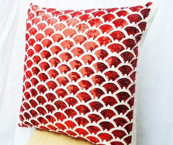 Items similar to Red pillows with embroidered waves - Sashiko pillow - Red Cushion cover zipper ...