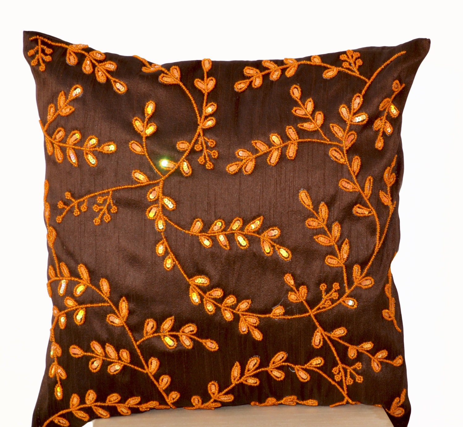 Brown Sofa Pillows: Brown Throw Pillows With Orange Bead Sequin Detail Orange