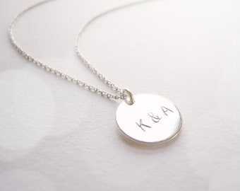 Delicate silver letter stamped initial necklace