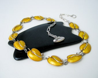 1950s Signed Volmer Bahner Necklace/ Choker, Guilloche Enamel on Sterling Silver, Modernism, Denmark.