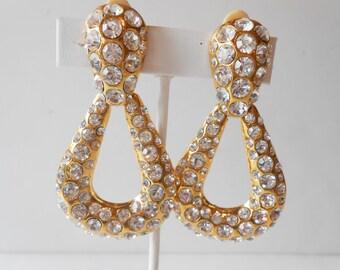 Rhinestone Earrings, Door Knocker Style, Vintage Earrings, Glamorous Earrings, Costume Jewelry, Vintage Jewelry, Hollywood Glamour