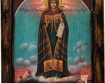 Virgin Mary - Mount Athos - Orthodox icon on wood handmade - Greece