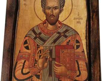 Saint St. John - The Chrysostom - Orthodox Byzantine icon on wood handmade (22.5 cm x 17 cm)