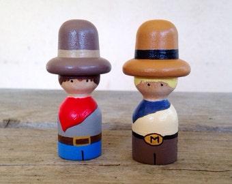 Cowboy peg people set