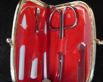Vintage silver purse manicure set