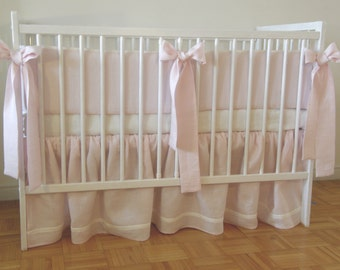 Linen Crib  bedding -  skirt and 4 side bumper - girl  nursery bedding, pink crib bedding