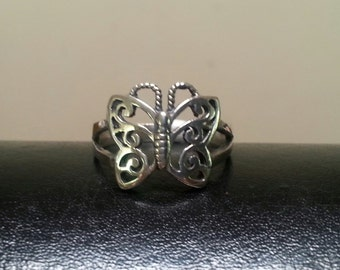 sterling silver filegree  butterfly ring alternative steampunk gothic art nouveau victorian