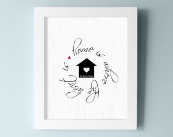 Home is where the Heart Is - Family Wall Art - Home Wall Decor - Family Sign - Brick Design with Heart and House - Choose your Colors