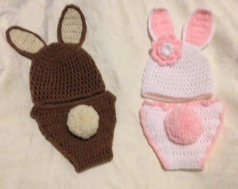 Bunny Diaper cover and Hat