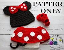 Crochet PATTERN - Newborn to 12 months Minnie Mouse set Photo Prop Set -Instant Download PDF- Photography Prop Pattern