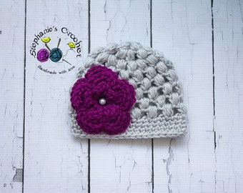 Crochet baby girl puff stitch hat crochet Newborn photo props photography girl-Made to order