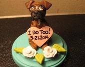 Single Boxer Dog Wedding Cake Topper/ single dog sculpture with base/custom colors/custom design. ANY BREED