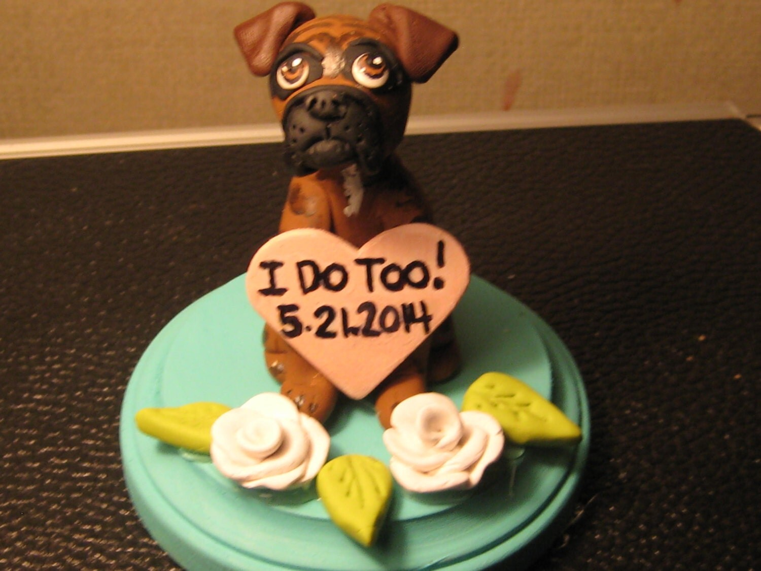 wedding cake topper with boxer dog single boxer wedding cake topper single sculpture 26654