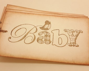 Baby tags/ antiqued baby tags/ wishing tree tags/ gift tags