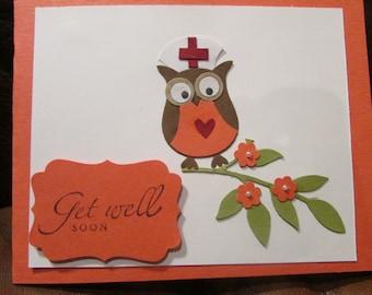 Owl Nurse Get Well Soon Card