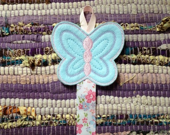 Embroidered Butterfly Hair Clip Holder